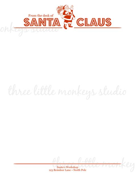 printable stationery letter to santa from the desk of santa claus letterhead new calendar