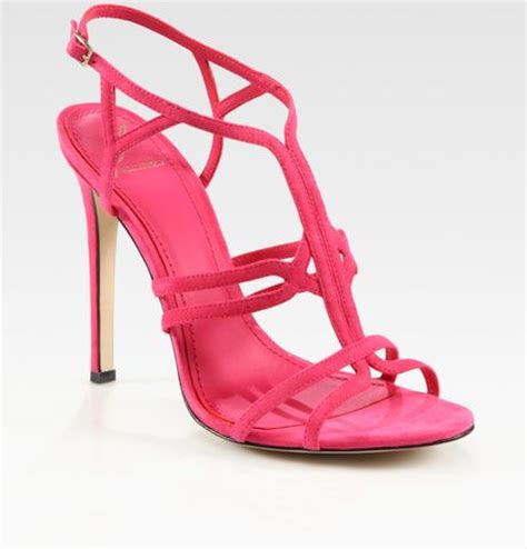 pink high heel sandals b brian atwood florrina suede high heel sandals in pink lyst