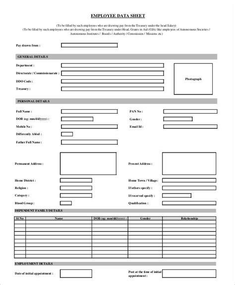 employee data sheet premium 43 sle sheet templates psd ai word pdf free