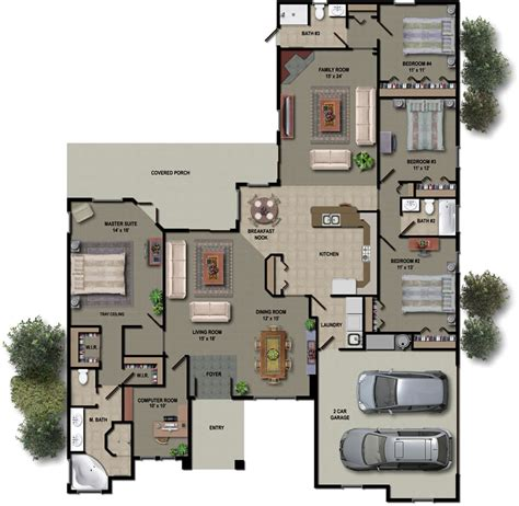 Floor Plan Rendering Software | plans 2 story building design interior renders in arhicad small house plans modern