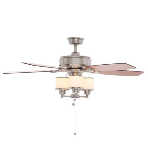 hton bay brushed nickel ceiling fan hton bay waterton ii 52 in indoor brushed nickel