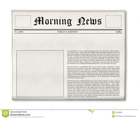 Newspaper Headline And Photo Template Stock Image Image Of Breaking Graphic 16538935 Newspaper Advertisement Template