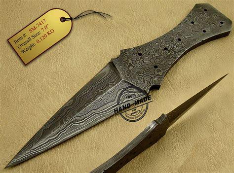 Handmade Knife Blades - edge damascus skinner blank blade knife custom