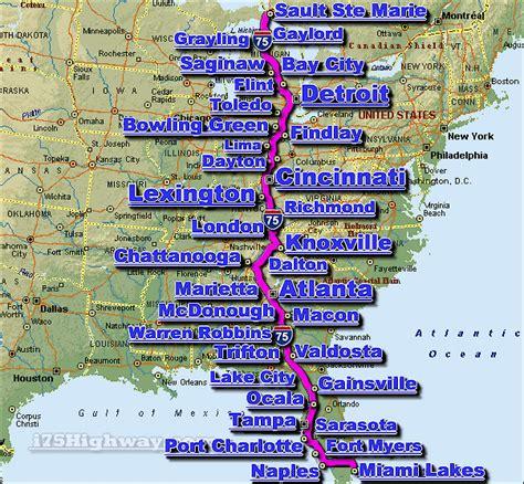 map of i 75 i 75 interstate 75 road maps traffic news