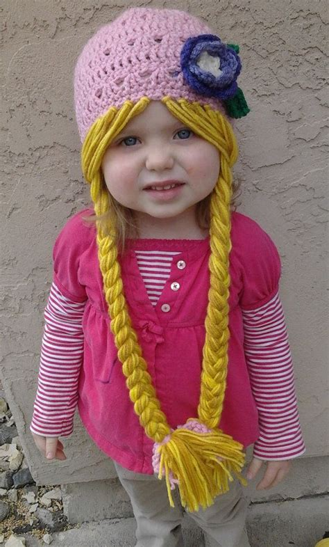 ducky braids pink rapunzel character hat with long braids by evermicha