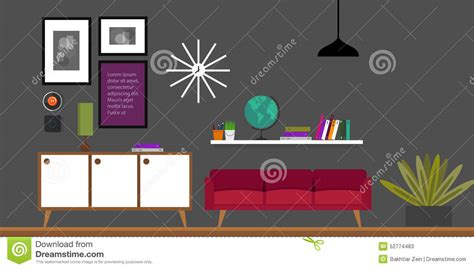 home interior vector vintage furniture sofa with globe royalty free stock image