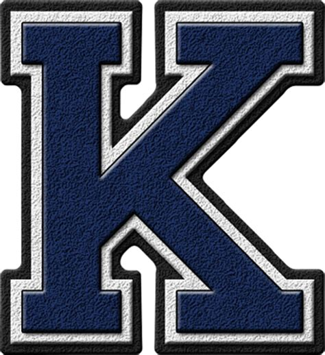 College With Letter K Presentation Alphabets Navy Blue Varsity Letter K