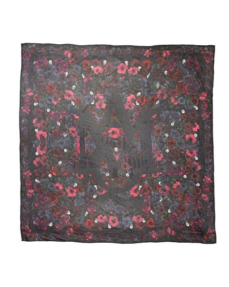 pink silk scarf square floral mcqueen square floral silk scarf black pink