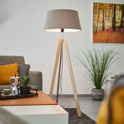 grey felt lampshade thea wooden floor lamp lights