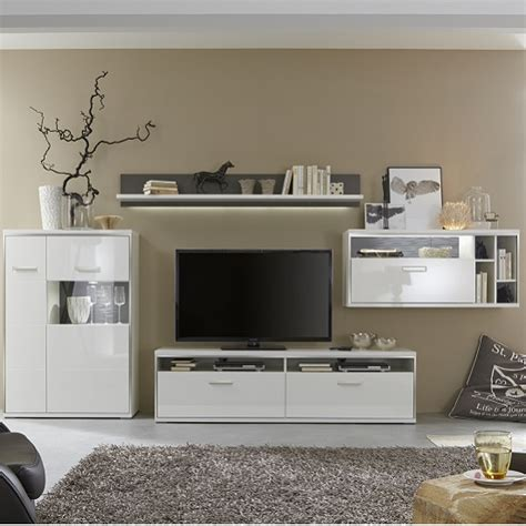 White Gloss Living Room Furniture Sets Libya Living Room Set 1 In White High Gloss With Led Li Complete Furniture Sets