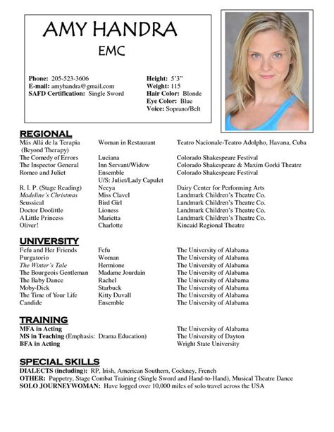 Professional Acting Resume Template by 1000 Images About Resume Exles On Theater Acting Resume Template And Tvs