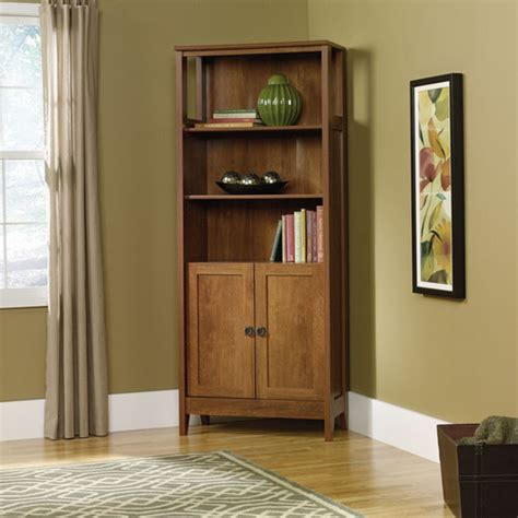 August Hill Library Bookcase With Doors In Oiled Oak Modern Bookcase With Doors