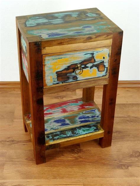 reclaimed boat wood bedside table handmade chest colourful - Nachtschrank Hoch