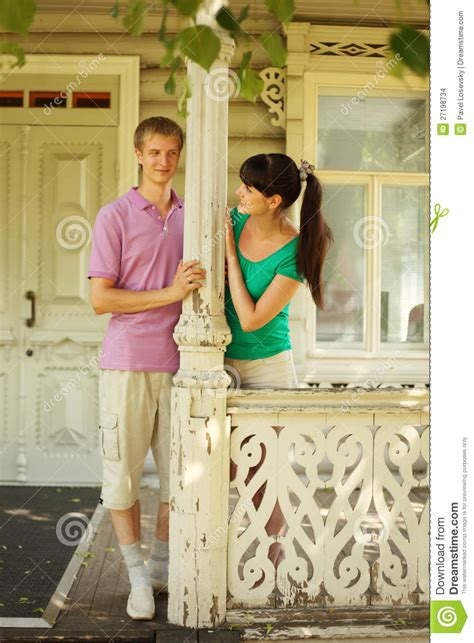terrace house couple couple pose on terrace village house stock photo image