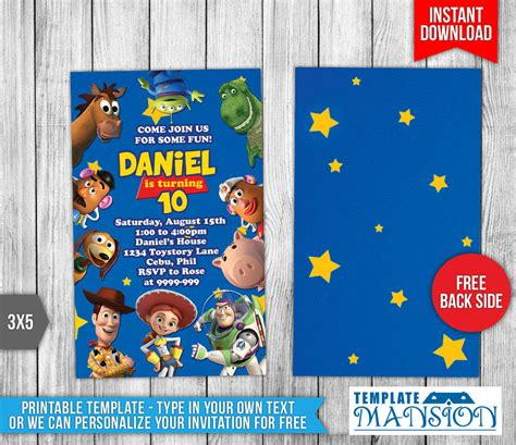 Story Bday Card Templates by Disney S Story Birthday Invitation By Templatemansion