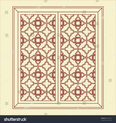 pattern window frame vector traditional chinese classic window door stock