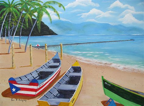 aguadilla crashboat beach painting by luis f rodriguez - Boat Crash Long Beach