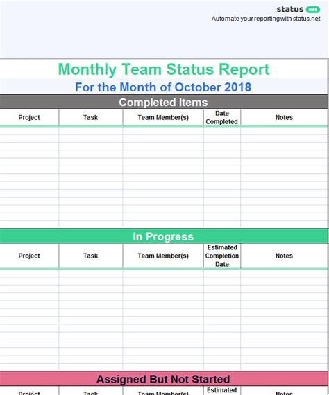 Weekly Team Report Template