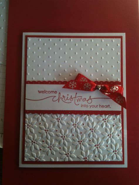 handmade christmas card white  red adornments embossing folder textures stamped
