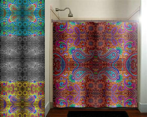tapestry shower curtain paisley gypsy hippie bohemian art from tablishedworks on etsy