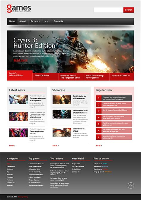 White Black Games Website Template By Mercury Bootstrap Responsive Website Template 44332 Buy Web Templates
