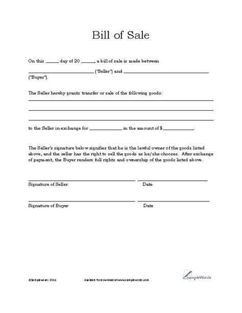 Free Printable Vehicle Bill of Sale Template Form (GENERIC)