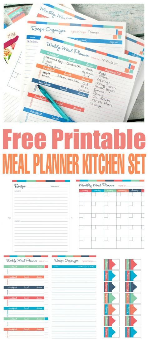 printable planner set free printable meal planner kitchen set homeschooling world