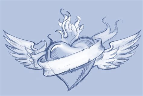 winged heart tattoo designs classic banner and winged design