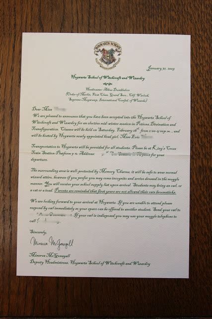 Hogwarts Acceptance Letter Wedding Invitation My Harry Potter The Invitation