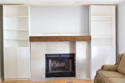 The Lettered Cottage Fireplace Makeover by Keith S Living Room Makeover Barnwood And Bookcases