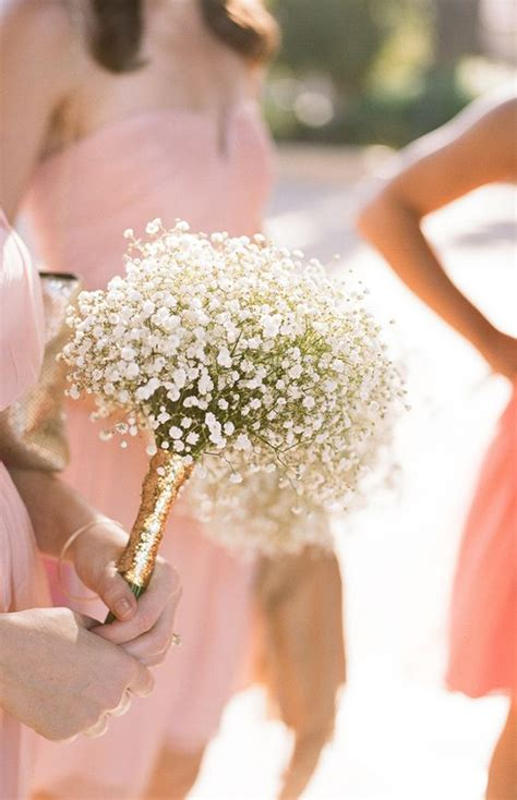 Bridesmaid Floral Bouquets by Baby S Breath Bridesmaid Bouquet Wrapped In Gold