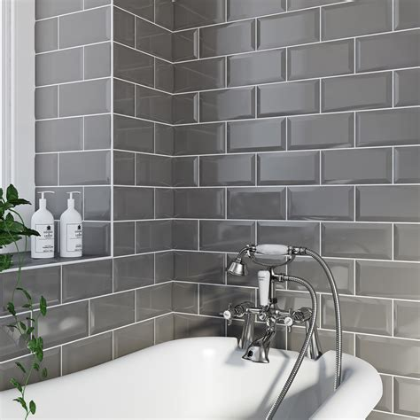 grey metro bathroom tiles metro grey bevel gloss tile 100mm x 200mm