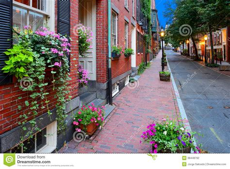 Narrow Home Plans boston streetscape at night stock photography image