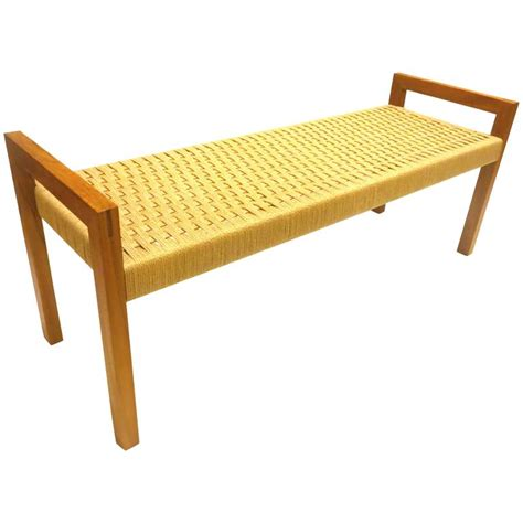 modern teak bench danish modern solid teak frame with rope seat large bench