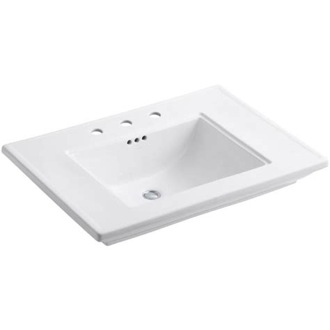 small rectangular drop in bathroom sinks shop kohler memoirs white fire clay drop in rectangular