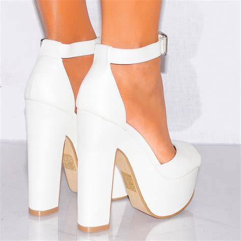 High Heels 2 White Murah white pu leather white platform high heel shoes