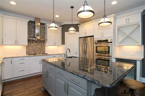 white marble kitchen with grey island house home main floor master homes nc custom homes stanton homes