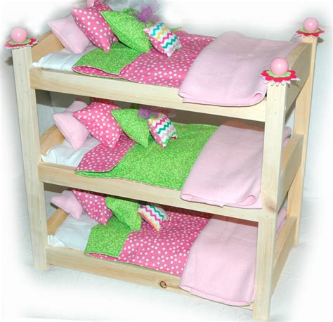 Triple Doll Bunk Bed Cotton Candy American Made Girl Doll Dolls Bunk Bed
