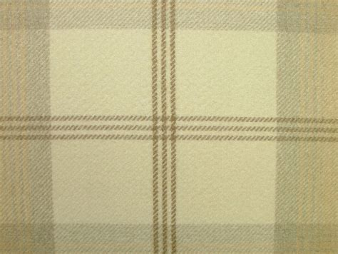 thick curtain fabric balmoral natural cream wool effect washable thick tartan