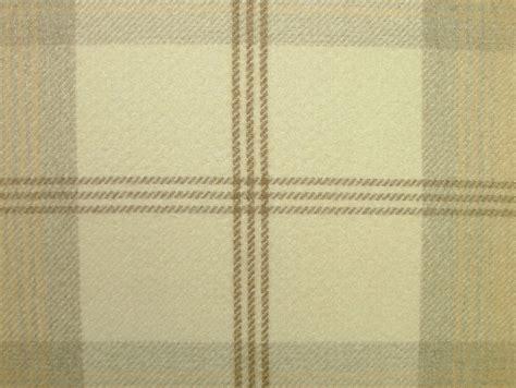 tartan wool upholstery fabric balmoral natural cream wool effect washable thick tartan