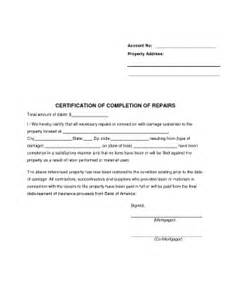 Certification Letter For Completion completion repairs fill online printable fillable
