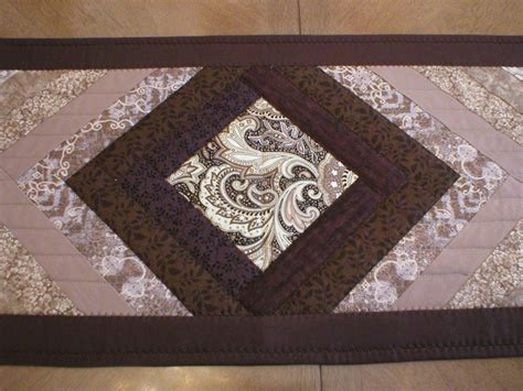 Handmade Table Runner - handmade quilted table runner in brown and