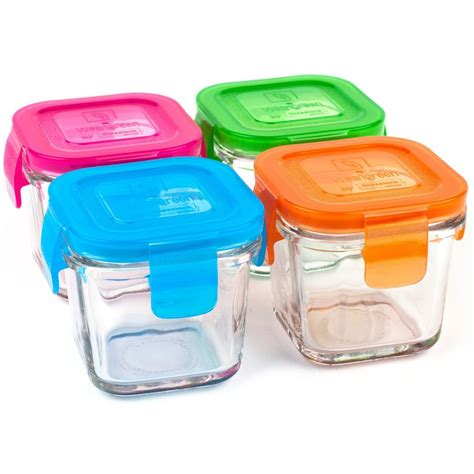 wean green 4 pack wean cubes glass food containers jpg - Glass Baby Food Storage Containers
