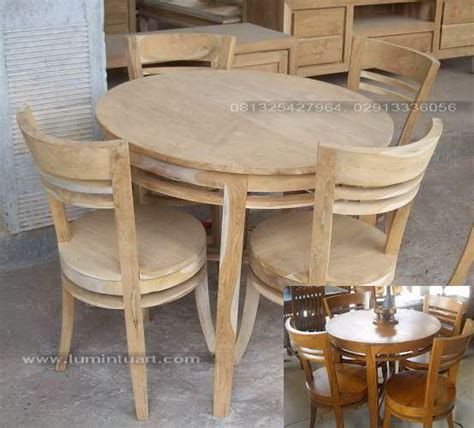Meja Makan Ganesa set meja kursi makan bulat minimalis telur kayu jati