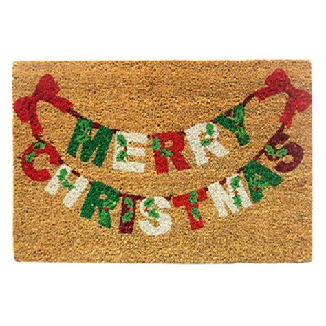 coir doormat festive nordic merry christmas by garden