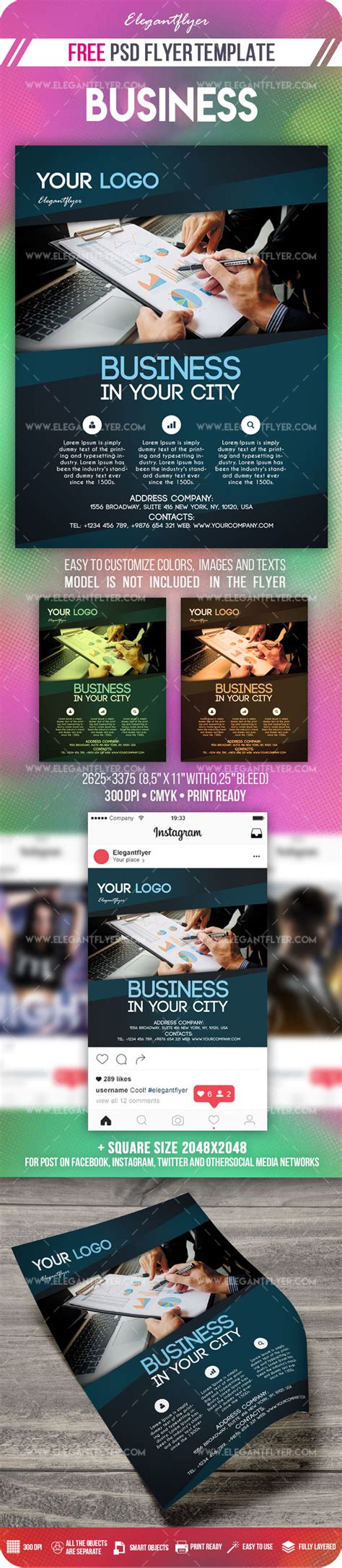 Business Free Flyer Psd Template Instagram Template By Elegantflyer Instagram Ad Template Psd
