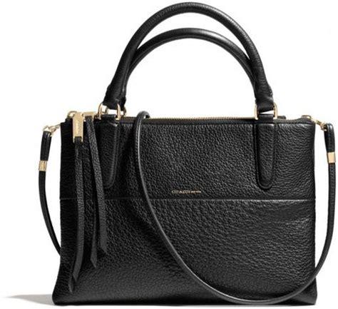 coach mini borough bag in pebbled leather in black li