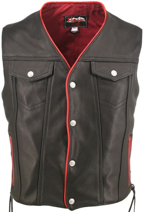 leather biker vest men s black leather motorcycle vest with red trim gun