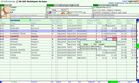 Multi User Spreadsheet by Tomuss The Multi User Simple Spreadsheet