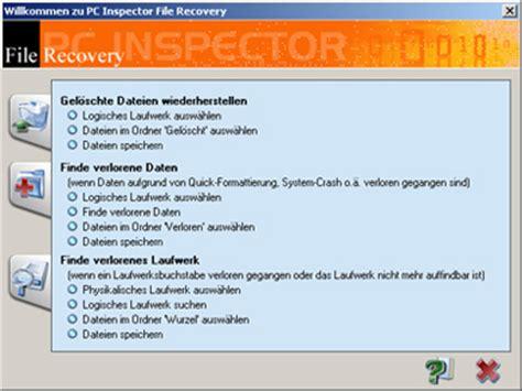 pc inspector kostenlose software f 252 r die datenrettung convar die datenretter